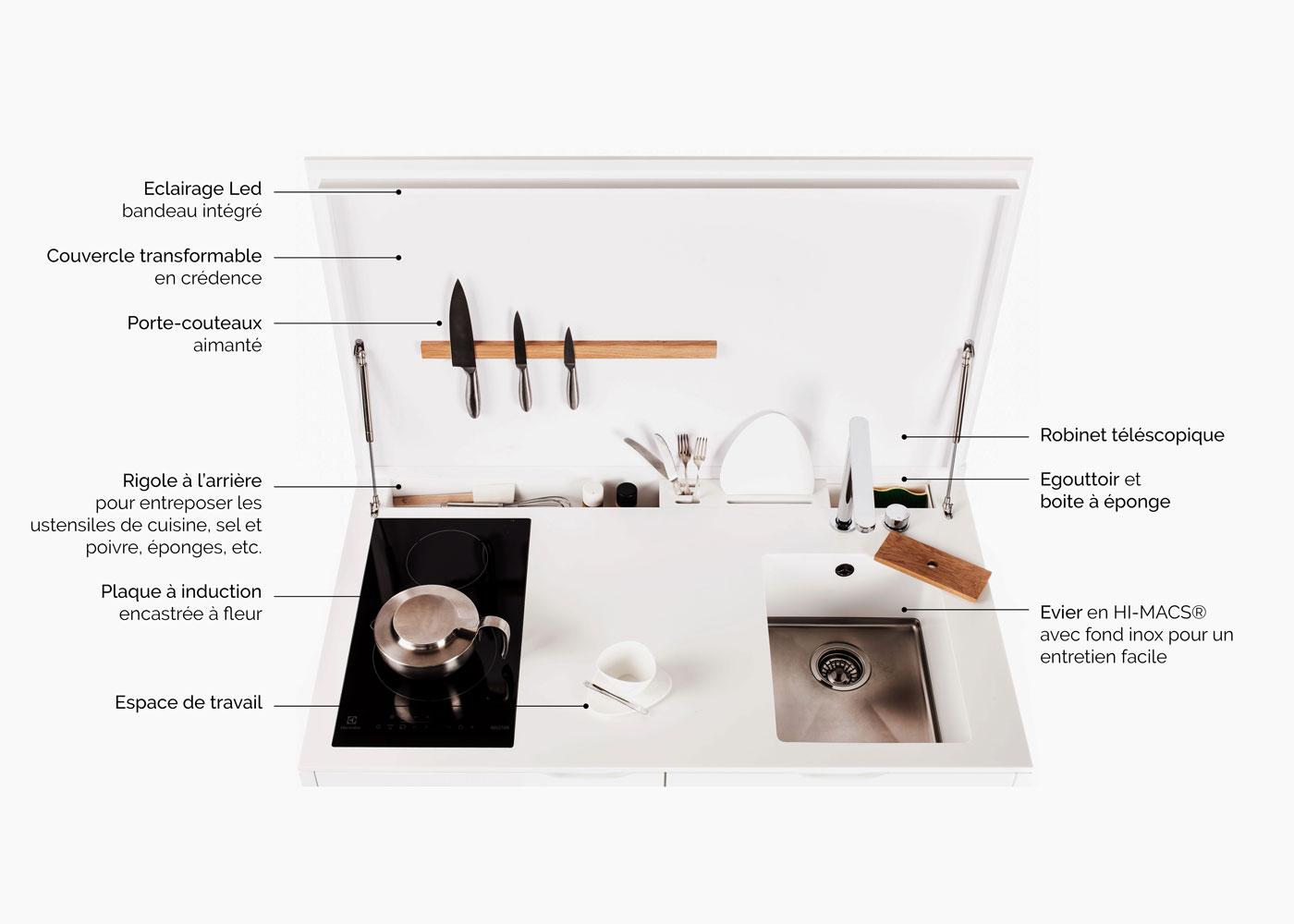 plan de travail lg himacs cuisine pour petits espaces optimises gain de place with mini cuisine. Black Bedroom Furniture Sets. Home Design Ideas