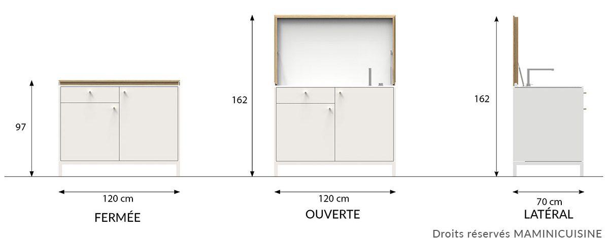 Dimensions petite cuisine équipée fabriquée en France